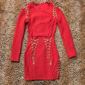 Red suede quilted gold chain corseted dress